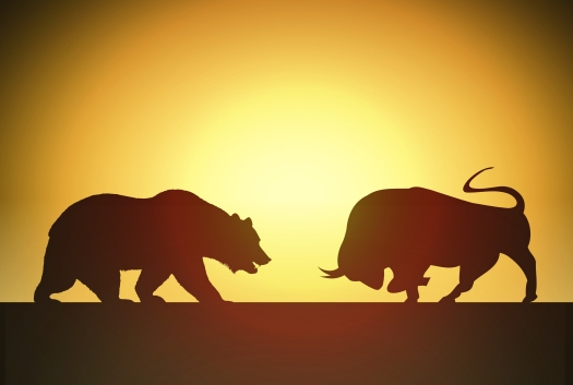 Bull versus Bear - Financial Markets Concept with Silhouettes